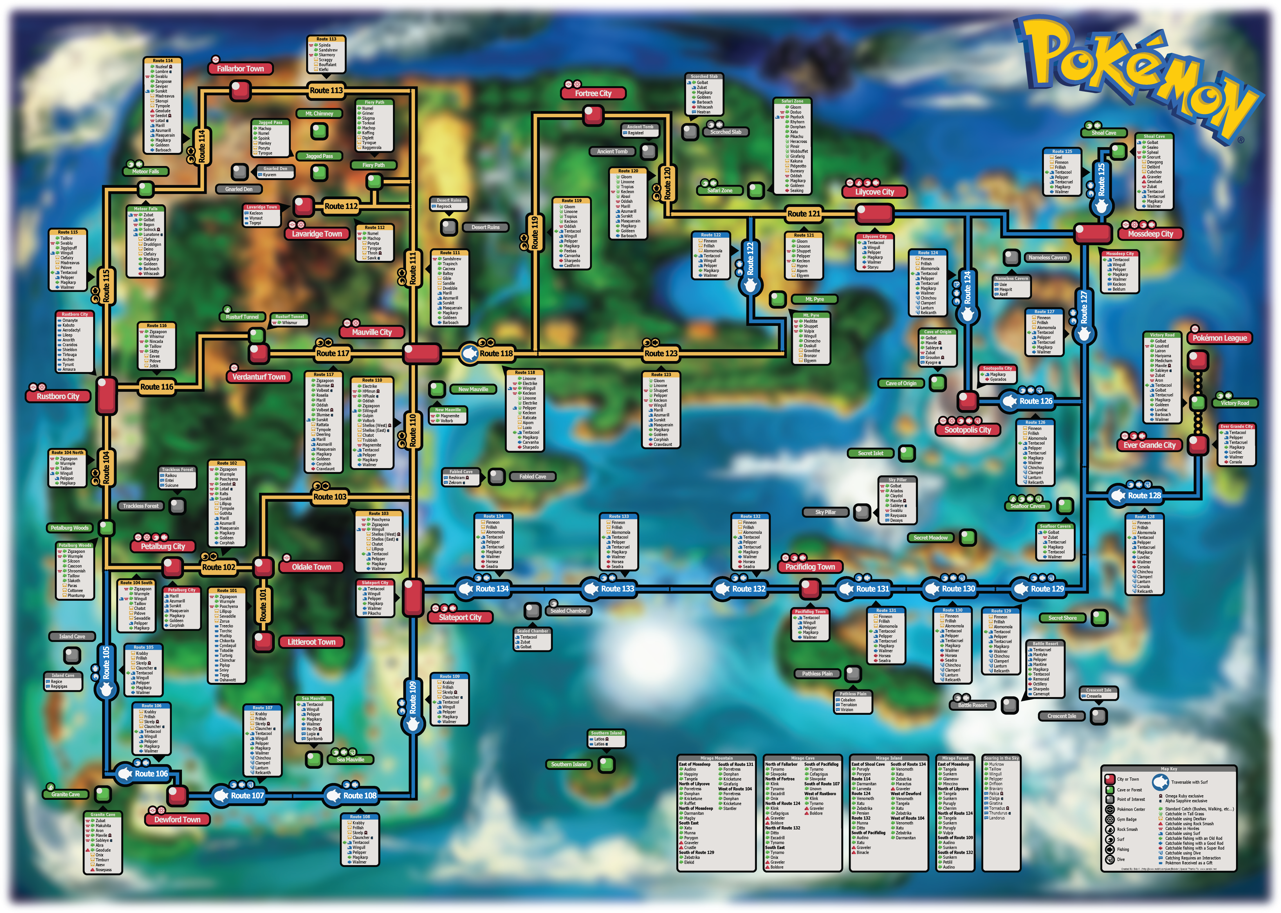 Map Of Hoenn Here is a map I made with the location and info for all catchable  Map Of Hoenn