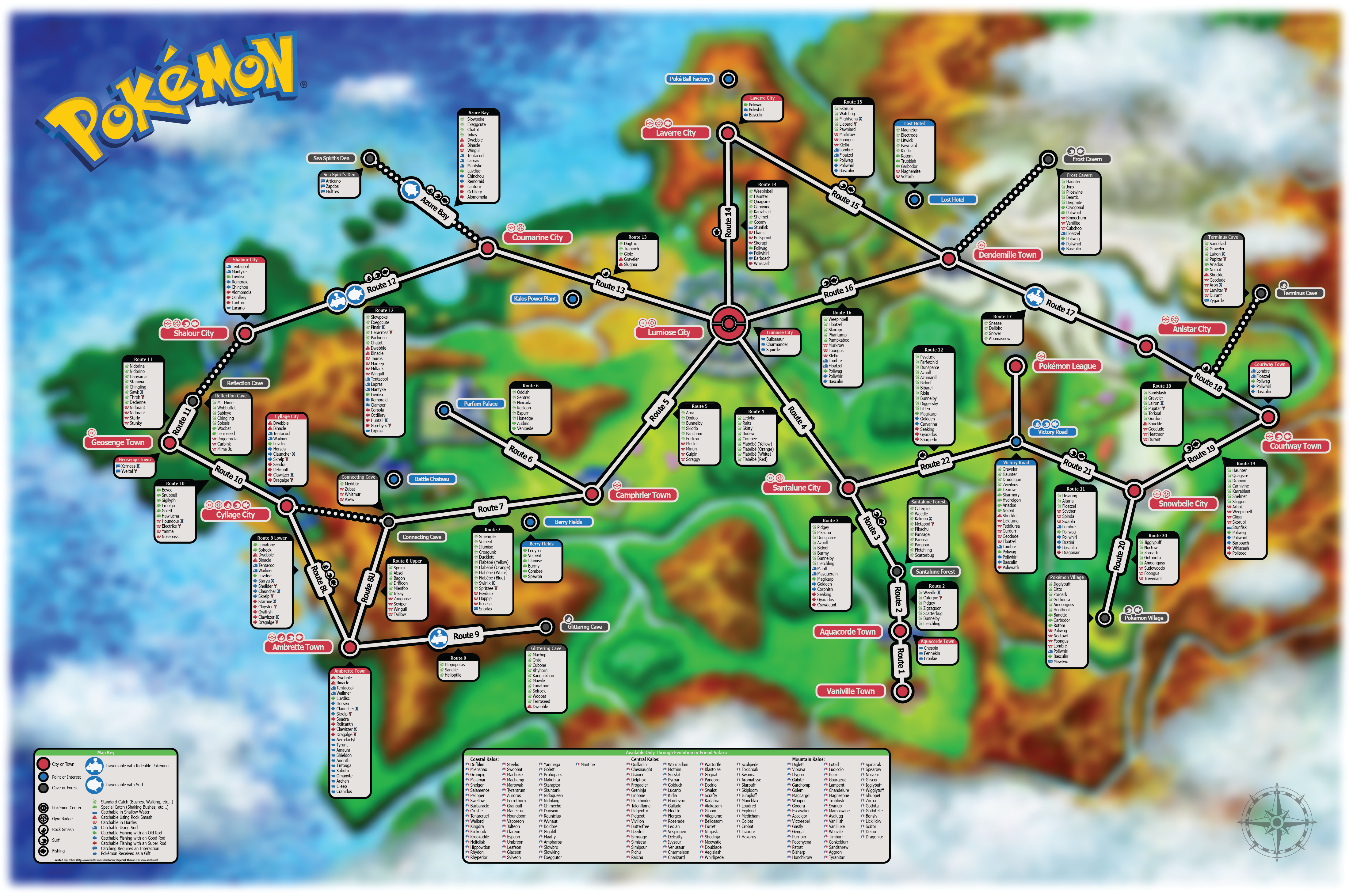 pokemon weltkarte Here is a map I made with the location and info for all catchable  pokemon weltkarte
